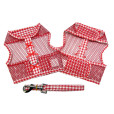 Red Gingham and Bows Cool Mesh Dog Harness and Leash