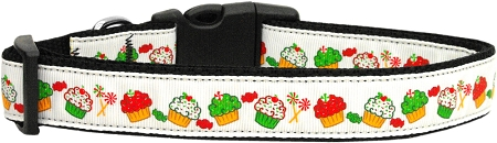 Red, Green & White Cupcake Nylon Adjustable Dog Collar