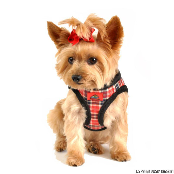 Red Plaid Dog Harness American River with Black Fur