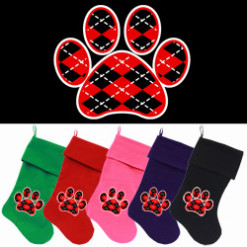 Red and Black argyle dog paw Christmas stocking