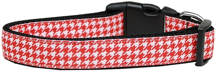 Red and White Houndstooth Adjustable Dog Collar