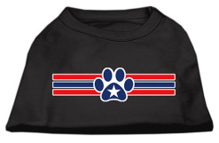 Red and blue stripes dog paw star patriotic Screenprint t-shirt sleeveless dog black