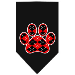 Red dog paw argyle bandana black