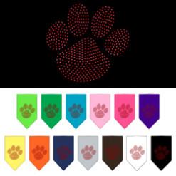 Red dog paw rhinestone bandana