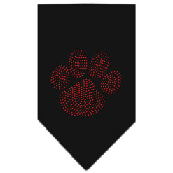 Red dog paw rhinestone bandana black