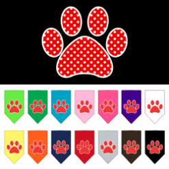 Red polka dot dog paw bandana