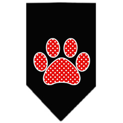 Red polka dot dog paw bandana black