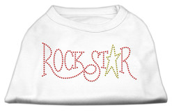 Rockstar rhinestones dog t-shirt white