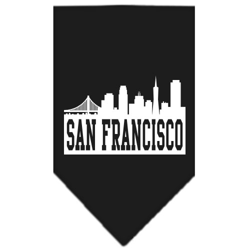San Francisco skyline dog bandana black