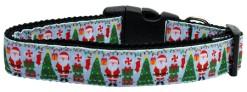 Santa Claus Aqua Dog Collar with Christmas Tree, Decorations and Presents