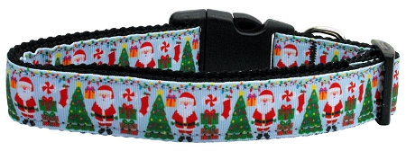 Santa Claus Aqua Dog Collar with Christmas Tree, Decorations and Presents
