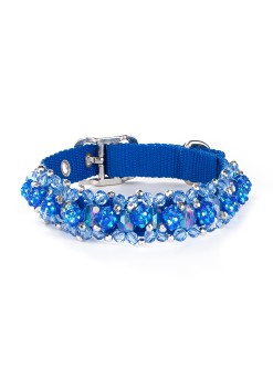 Sapphire Beeded Dog Collar Fireball