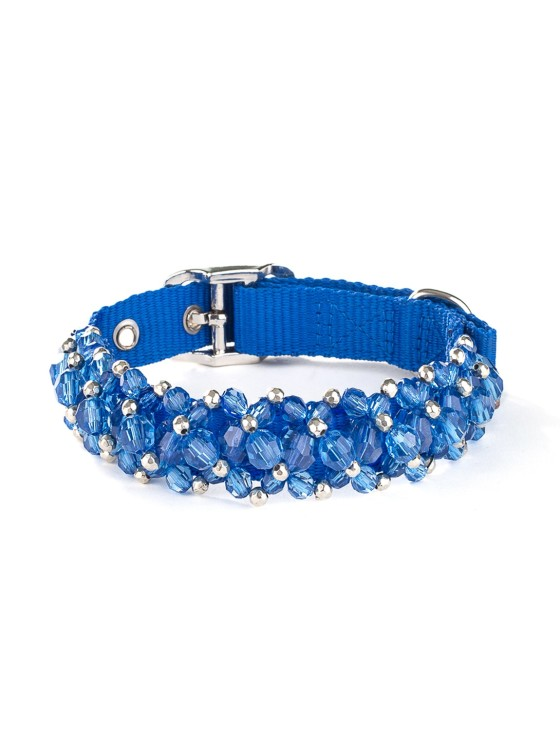 Sapphire Beaded Dog Collar
