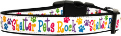Shelter Pets Rock Adjustable Dog Collar Colorful