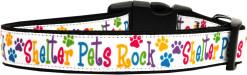 Shelter Pets Rock Adjustable Dog Collar Colorful