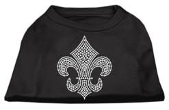 Silver Fleur de lis rhinestones dog t-shirt black