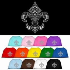 Silver Fleur de lis rhinestones dog t-shirt colors