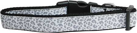 Silver leopard adjustable dog collar