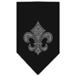 Silver rhinestone Fleur de lis dog bandana black