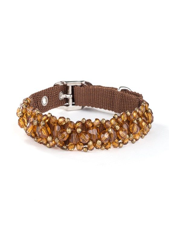 Smoked Topaz Beaded Dog Collar