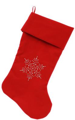 Snowflake Rhinestone embellished dog stocking red