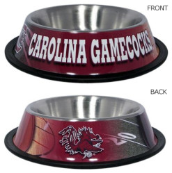 South Carolina Gamecocks stainless dog bowl