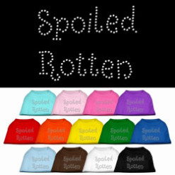 Spoiled rotten rhinestones dog t-shirt colors