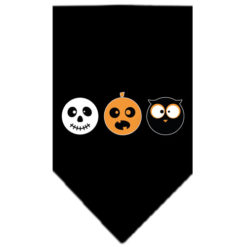 Spooky Trio Skull Pumpkin and Owl Screenprint Dog Bandana Black
