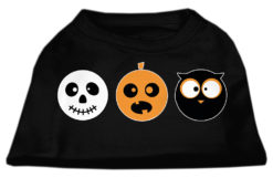 Spooky Trio Skull Pumpkin and Owl Screenprint Dog Shirt Black