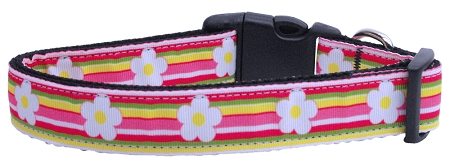 Spring Daisy Stripe Adjustable Dog Collar