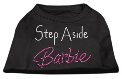 Step aside barbie rhinestones dog t-shirt black
