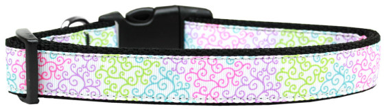 Summer pastel swirls adjustable dog collar