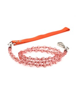 Tangerine Beaded Dog Leash Fab