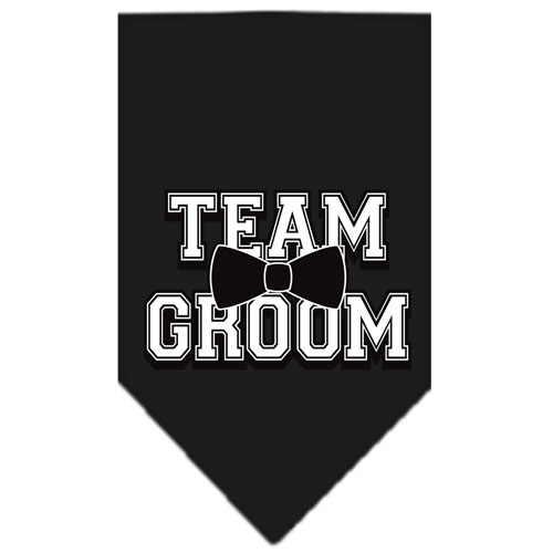 Team Groom bowtie dog bandana black
