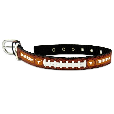 Texas Longhorns leather dog collar large