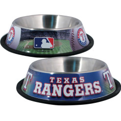 Texas Rangers stainless dog bowl