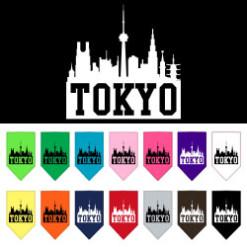 Tokyo skyline silhouette dog bandana