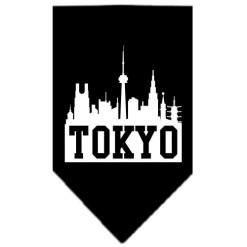 Tokyo skyline silhouette dog bandana black