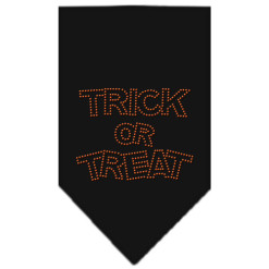 Trick or Treat rhinestone dog bandana black