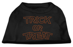 Trick or Treat rhinestone dog shirt Halloween black