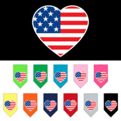 USA American Flag heart dog bandana