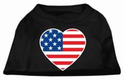 USA Flag American heart Dog Shirt Screen Print Black