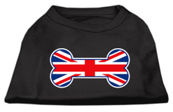 United Kindom Union Jack flag bone shape outline sleeveless dog t-shirt black