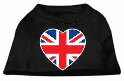United Kingdom heart sleeveless dog t-shirt union jack flag black