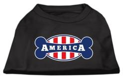 United States flag bone shape outline sleeveless dog t-shirt stripes black