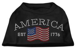 Vintage American flag dog t-shirt black