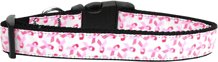 White and Pink Breast Cancer Awareness ribbon dog collar