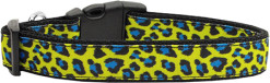 Yellow and Blue Leopard Animal Print Nylon Dog Collar