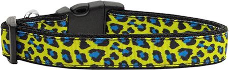 Yellow and Blue Leopard Animal Print Nylon Dog Collar