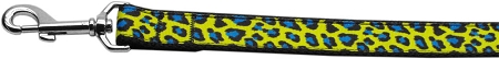 Yellow and Blue Leopard Animal Print Nylon Webbing Dog Leah